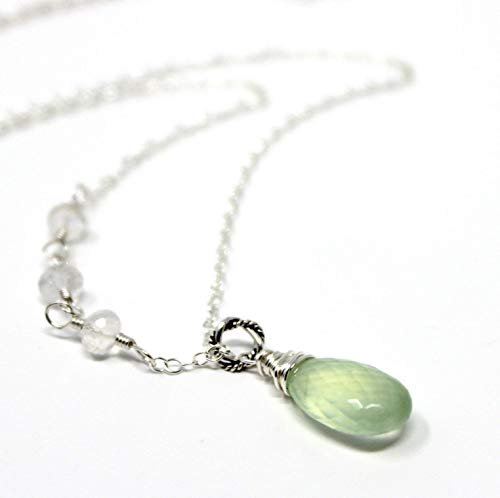 - Mint Green Gemstone Necklace Prehnite Rainbow Moonstone, Sterling Silver 18