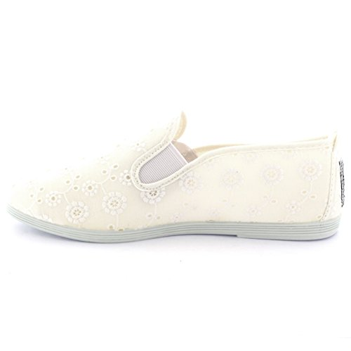 Womens Flossy Rioja Summer Shoes Slip On Flat Plimsolls Floral Trainers White M4tyG