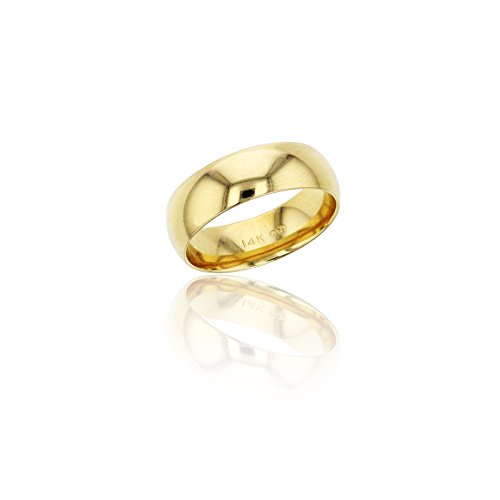 10K Yellow Gold 6mm Polished Plain Wedding Band