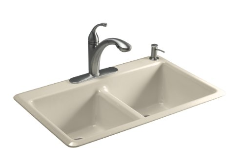 Kohler K-5840-2-47 Anthem Cast Iron Self-Rimming Sink with Two-Hole Faucet Drilling, Almond (Double Bowl Rimming Self Kohler)