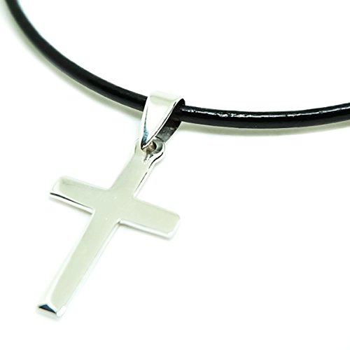 925 Sterling Silver Mens Cross Pendant + Black Shiny Leather 18 Inch 1.5mm. Necklace Lobster Clap (Adult Simple Halloween Costumes)
