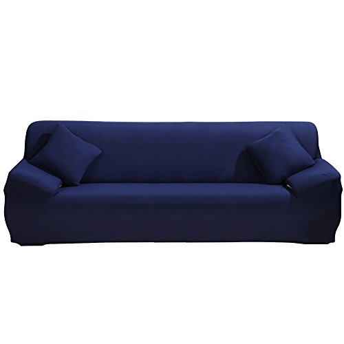 DIFEN Sofa Cover Nary Blue 4 Seater Slipcover Sofa Couch Stretch Elastic Polyester Spandex FabricSofa Protector (Sofa Slip Covered)