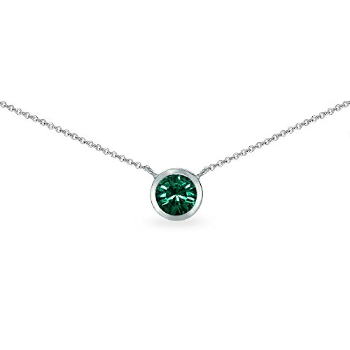Green May Birthstone Pendant (Sterling Silver Green 6mm Round Bezel-Set Dainty Choker Necklace Made with Swarovski Crystals)