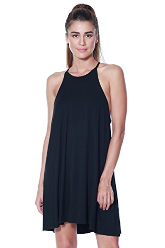 Womens Halter Tank Shift Dress Tunic Casual Swing Jersey Knit (Black, Small)