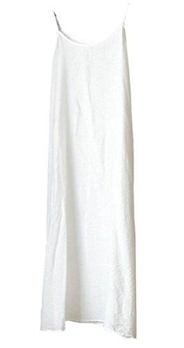 Courroie De Spaghetti Une Ligne Décontractée Des Femmes Cromoncent Réservoir De Coton Massif Robe Blanche