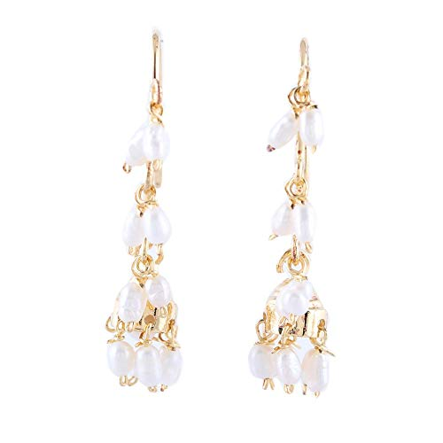 NOVICA White Cultured Freshwater Pearl 22k Gold Vermeil Chandelier Earrings, Pearl Melody' ()