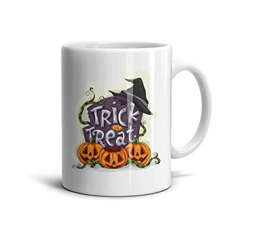 DoorSignHHH Halloween Trick or Treat Witch Pumpkins Simple Coffee Mug Art White Ceramic Inspirational Reusable Travel Cup]()