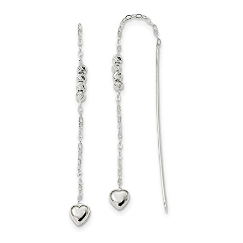 ICE CARATS 925 Sterling Silver Heart Beaded Tassel String Threader Earrings Drop Dangle Love Fine Jewelry Ideal Gifts For Women Gift Set From (Beaded Sterling Silver Threader Earrings)