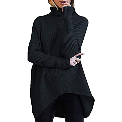 ANRABESS Womens Turtleneck Long Batwing Sleeve Asymmetric Hem Casual Pullover Sweater Knit Tops at Women's Clothing store