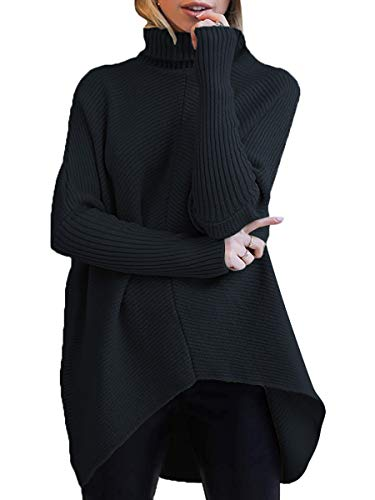 ANRABESS Women's Casual Long Batwing Sleeve Turtleneck Sweater Pullover Knit Jumper A87hei-M Black