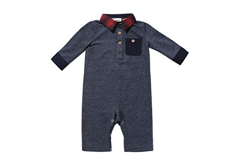 Fore! Axel and Hudson Baby Romper L/S Navy Lightweight French Terry Pocket Polo Romper (3/6M)