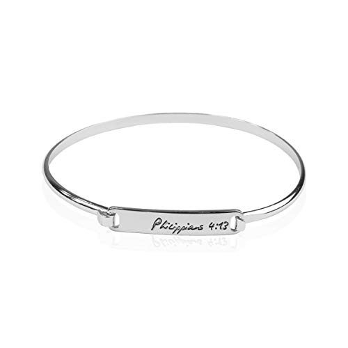 (Inspirational Quote Bar Metallic Bangle - Geometric Cuff Bracelets Message Plate/Christian Bible/Religious/Amazing Grace/Blessed/Faith/Rhinestone Cross/Lucky Clover/Tribal (Philippians 4:13 -)