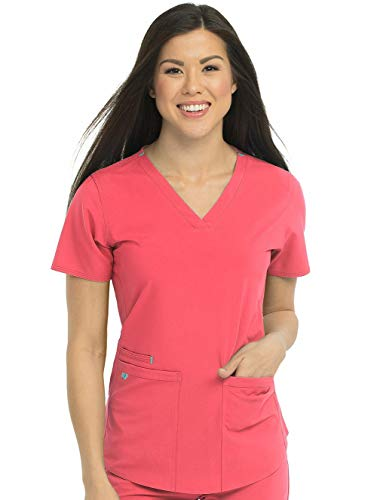 (Med Couture Energy Racerback V-Neck Shirttail Scrub Top Women, Coral, X-Large)