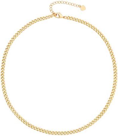 18k Gold Paperclip Chain Choker Satellite Chain...