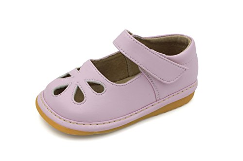 Little Mae's Boutique Toddler Shoes | Squeaky Light Pink Flower Punch Mary Jane Toddler Girl Shoes (4)