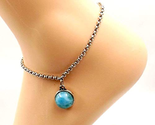 Larimar Drop Anklet Blue Stainless Steel Chain Anke Bracelet Unisex Ocean Lovers Collection All Sizes Wedding