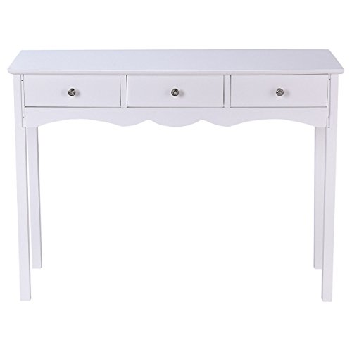 White Console Table Hall Side Accent Table 3 Drawers Entryway