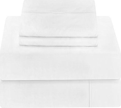 Premium 4 Piece Bed Sheet Set (Queen, White) 1 Flat Sheet 1 Fitted Sheet and 2 Pillow Cases - Brushed Velvety Microfiber - Luxurious and Extremely Durable - by Utopia Bedding.