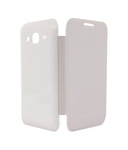 TfPro Bell Premium Leather Finish Flip Case Cover for Lava Iris 402   White <span available at Amazon for Rs.259