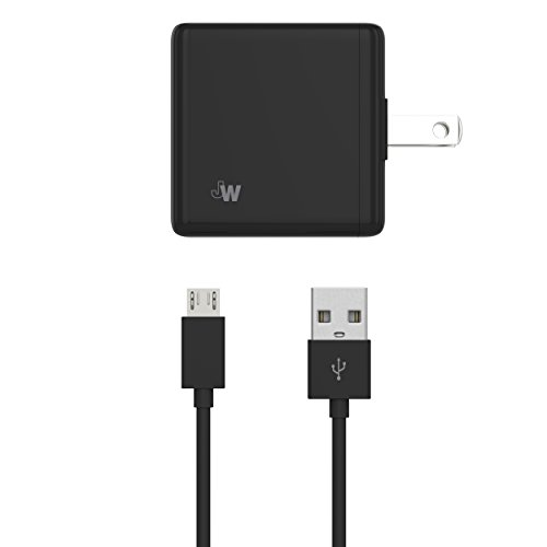 Just Wireless Wall Charger USB Dual Port 5W/1A with Micro USB to USB Cable (5ft) for Android Smartphones and Devices (Samsung Galaxy, LG, Motorola, Nokia, HTC, Blackberry) - Black