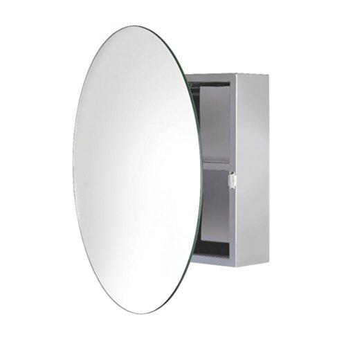 Croydex WC836005YW Severn Circular Mirror Cabinet, Stainless