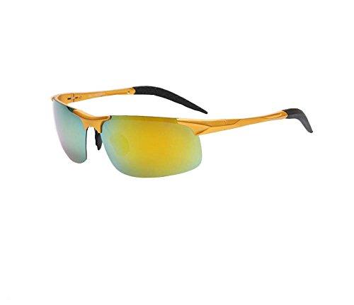 Color film mirror sunglasses polarizer male driver night vision goggles sunglasses tide (Yellow-green lenses) (Aviator Film Online)