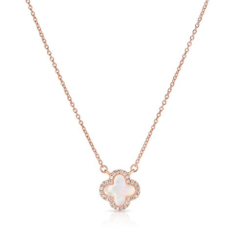 Sterling Silver Mother Of Pearl And Cubic Zirconia Four Leaf Clover Necklace With Adjustable Length. (14K Rose Gold Plated) (Mother Of Pearl Rose Pendant)