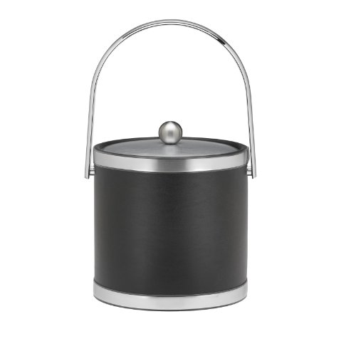 Kraftware Brushed Chrome Ice Bucket with Track Handle and Metal Cover, Black - 3 Quart Metal 3 Qt Ice Bucket