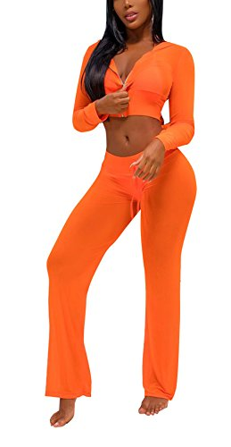 Bluewolfsea Womens Sexy 2 Piece Mesh Swimsuit Bikini Cover Up Hoodie Crop Tops and Pants Set Summer Beach Party Outfits