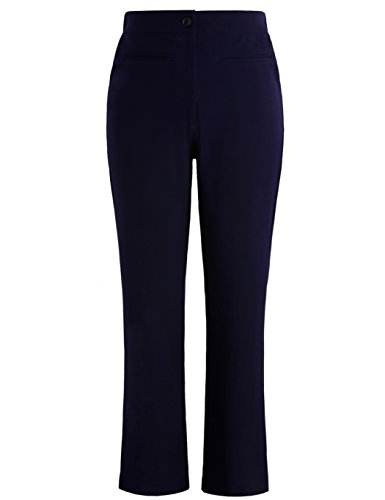 Wool Zip Fly Trousers (Chicwe Women's Plus Size Work Pants Trousers Curvy Fit Bootcut 16, Navy Blue)