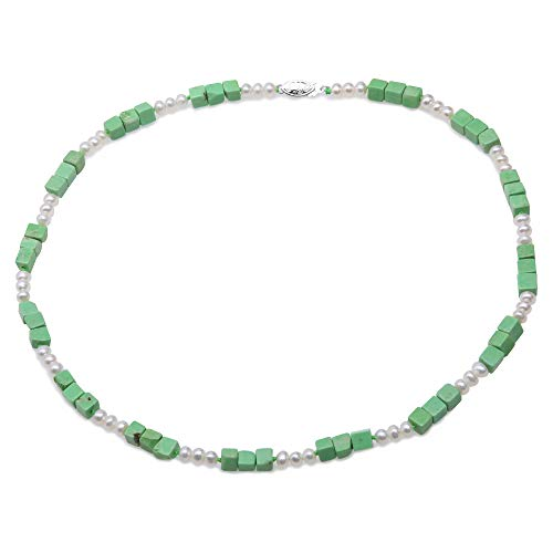 JYX Handmade Gemstone Turquoise Necklace 8×14mm Cubic Green Turquoise and 7.5-8mm White Pearls Necklace for Women - Turquoise Pearl Green