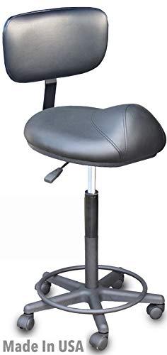 Devlon Northwest Salon Stool With Back Rest Saddle