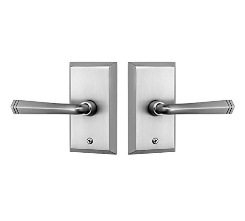 Rockwell Premium Aqua Solid Brass Passage Set with Quattro Lever in Brushed Nickel Fits 2-3/8 inch Backset 1-3/8 inch to 1-3/4 inch Thick Doors, Includes, Latch, Strike Plate and mounting Fasteners ()