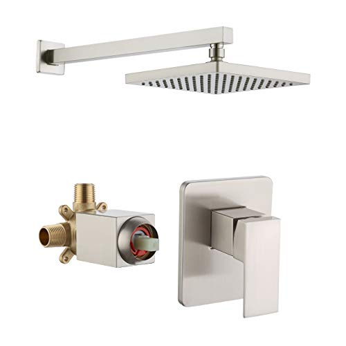KES Pressure Balance Shower Valve and Trim Kit Combo Concealed Brass Shower Faucet Body with Faceplate Rainfall Shower Head and Supply Arm Single Handle Modern Square Brushed Nickel, XB6210-BN (Faucet Kit Supply)