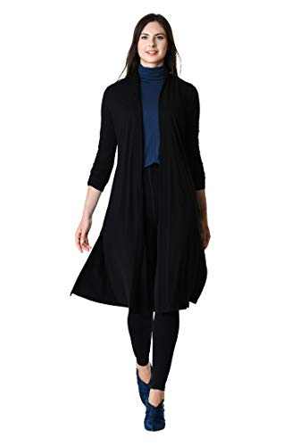 Black knit Women's eShakti Cotton cardigan open front SOYwBzwxqH