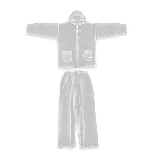 Vbestlife EVA Rain Suits Men Women Transparent Raincoat Two Pocket Unisex Waterproof Drawstring Hooded Rainwear Outdoor Fishing Hiking Camping Traveling Clear Rainsuits Jacket Pants Set - L, XL (L)