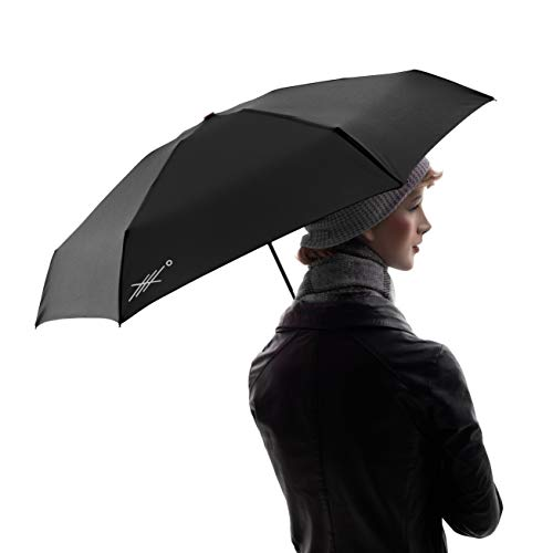 Extreme Degrees Mini Umbrella. Compact Lightweight Folding Travel Umbrella. Protection from Rain, UV Rays and Sun for Kids, Women & Men. (Black)