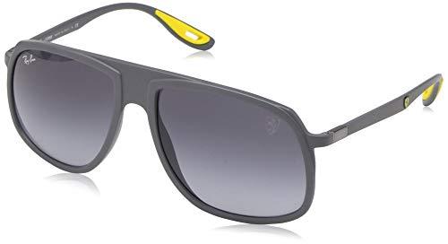 (Ray-Ban Men's RB4308M Scuderia Ferrari Collection Square Sunglasses, Matte Grey/Grey Gradient, 57 mm)