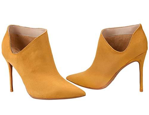 Femmes Stiletto Western Confort Talons Jaune Bigtree Bout Élégant Pointu Daim En Découpe Bottes Cowboy Hauts Pour Bottines W4qAI