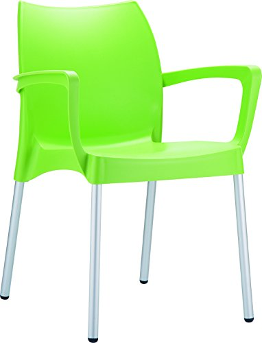 Clear Chair Store 047LG Dolce Indoor and Outdoor Stacking Arm Chair (Set of 4), Light Green For Sale