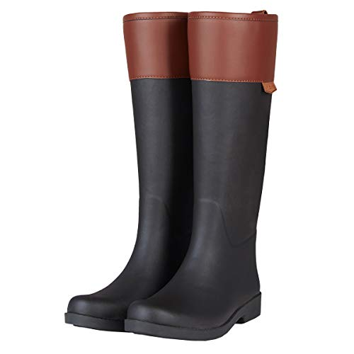 UNICARE Women's Mid-Calf Rain Boots Waterproof Rain Shoes Nonslip Tall Work Boot Rubber Rain Footwear Handmade, Black+Brown, US Size 6