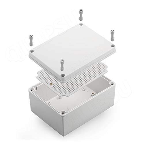 Junction Box With Mounting Plate ABS Plastic DIY Electrical Project Case IP67 Waterproof Dustproof Enclosure Grey 200x150x100mm(7.9