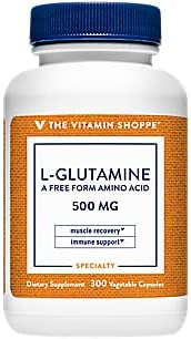 The Vitamin Shoppe LGlutamine 500MG, A Free Form Amino Acid, Supports Muscle Recovery Immune Health (300 Capsules)