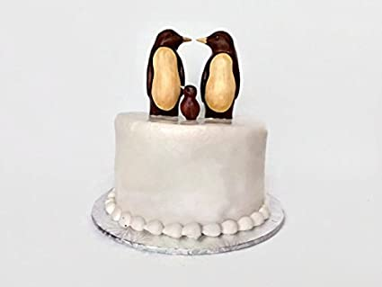 Amazon.com: Penguin Wedding Cake Topper with Child, Bride and Groom ...