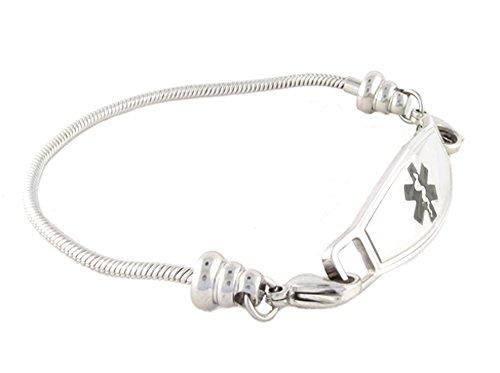 N Style ID Women's Beaded Pan-dorra Style PRE-ENGRAVED ''Seizure Disorder'' Medical Id Bracelet - Black 7.25 by N-Style ID