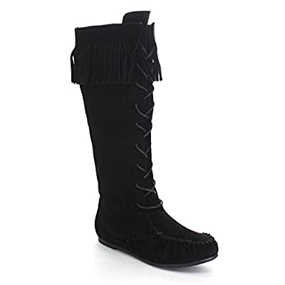Bamboo Circus-05 Women's Fringe Moccasin Under Knee High Combat Boots