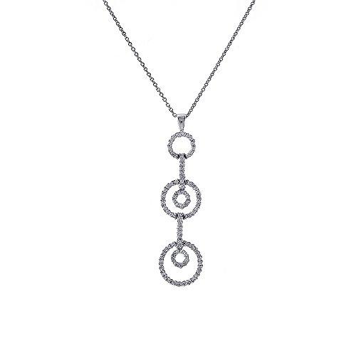 Triple Circle Link Chain - 0.50 Carat Round Diamond Triple Circle Pendant on Cable Link Chain 14K White Gold
