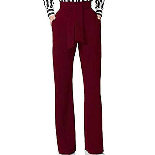 Raylans Women's High Waist Long Pants Wide Leg Trousers with Belt Wine S