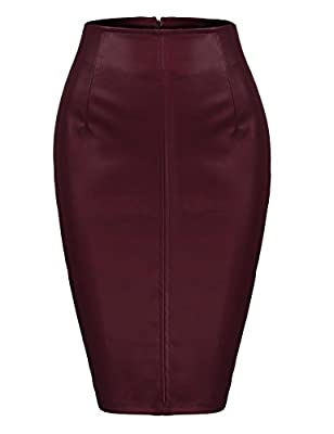 Zeagoo Women Classic High Waisted Faux Leather Bodycon Slim Mini Pencil Skirt