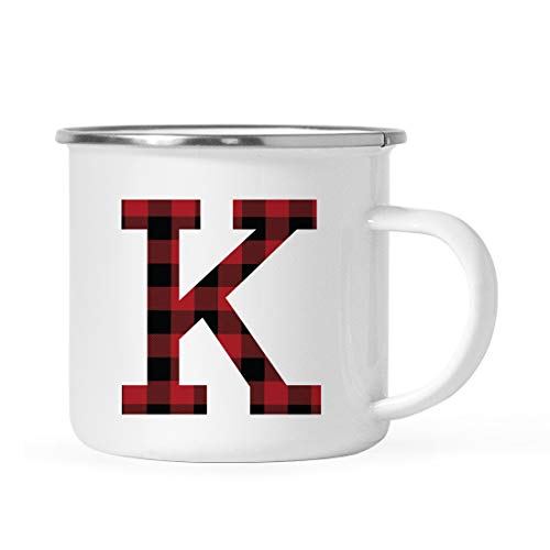 Andaz Press 11oz. Stainless Steel Campfire Coffee Hot Chocolate Mug Gift, Buffalo Red Plaid Monogram Initial Letter K, 1-Pack, Birthday Christmas Outdoors Metal Enamel Camping Camp Cup